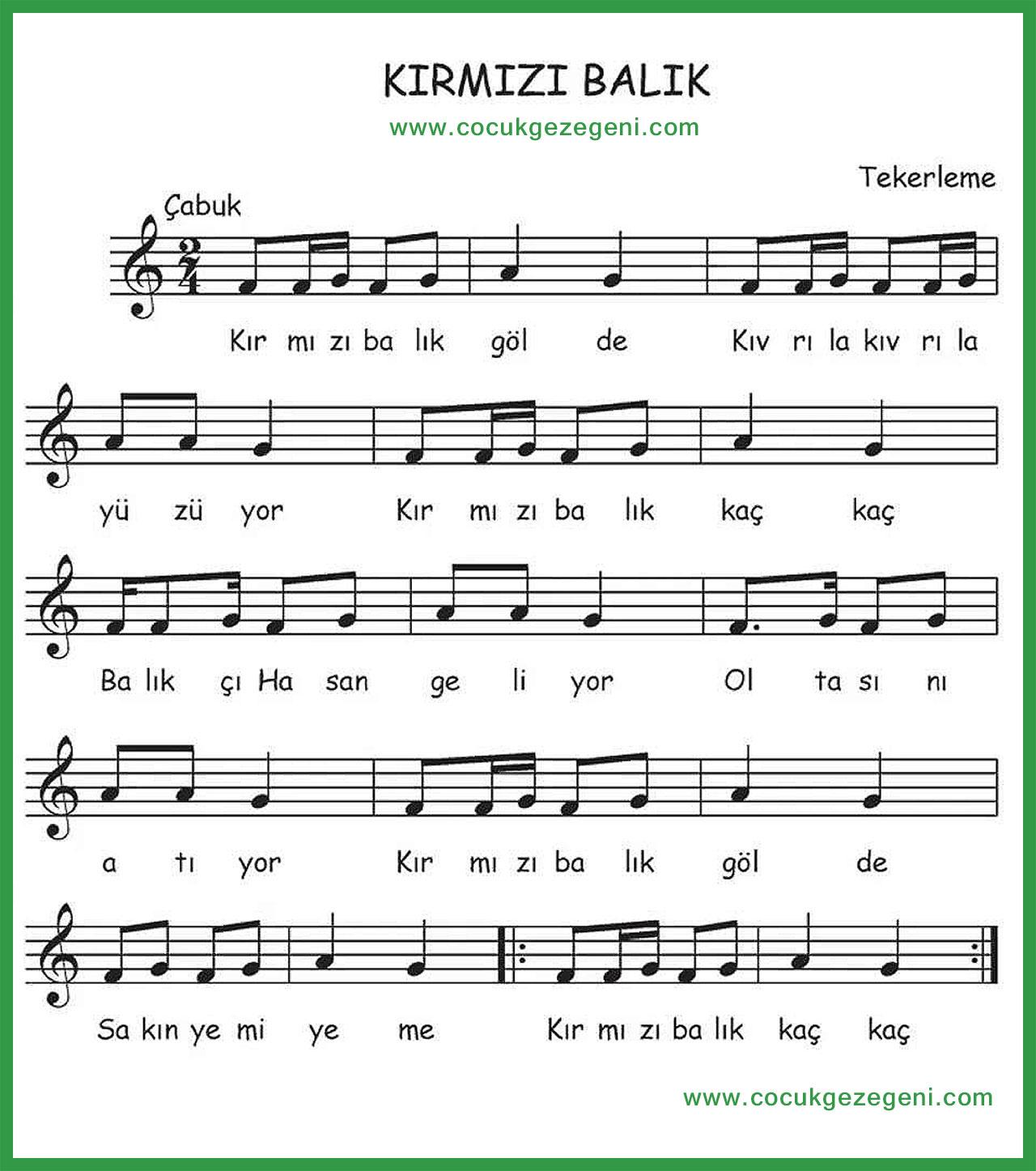 Kırmızı Balık Şarkısı Flüt ve Armonika Notaları