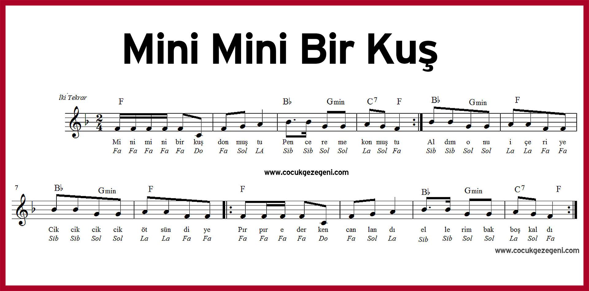 Mini Mini Bir Kuş Donmuştu Flüt Armonika Notaları