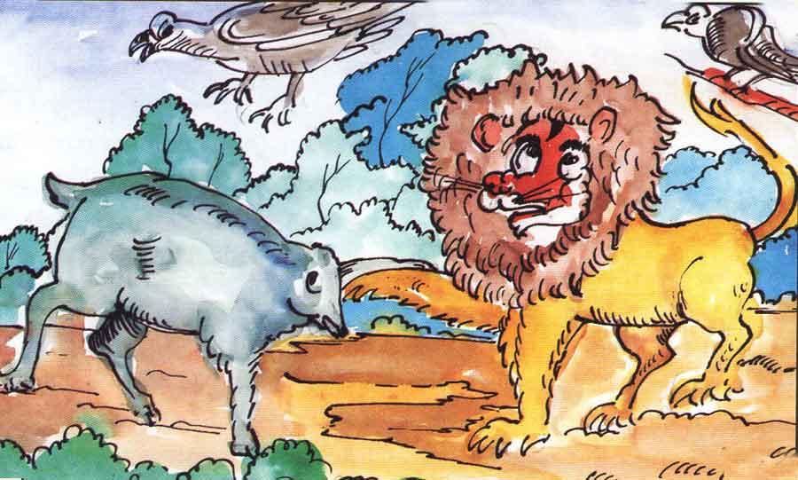 Aslan ile Yaban Domuzu Masali-Uzun Masal Oku veya Dinle-fabl-kisa cocuk masallari-anaokulu aslan masallari